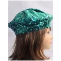 Beret paillette turquoise