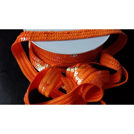 Galon paillettes rondes orange