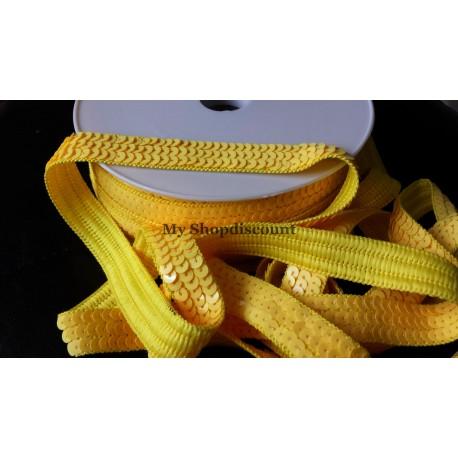 Galon paillettes rondes jaune