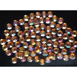 Lot de 25 strass à coudre orange irisé