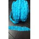 Galon dentelle fleur organza perlée turquoise