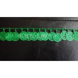 Galon chaine avec pièces de sequins vert