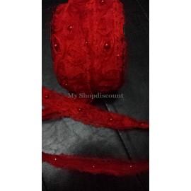 Galon dentelle fleur organza perlée rouge