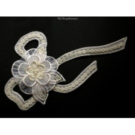 Motif thermocollant grande fleur ruban nouée