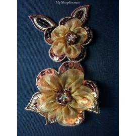 Motif thermocollant double fleur Rosa