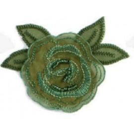 Applique pétale fleur organza vert