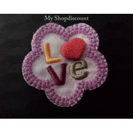 Motif thermocollant pétale fleur Love