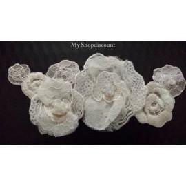 Motif thermocollant fleur organza et crochet
