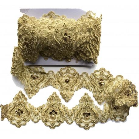 Dentelle perlée dorée X 50 cm