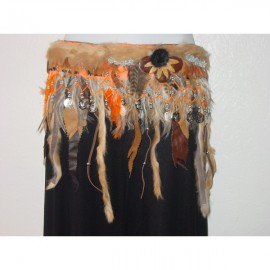 Ceinture danse tribale marron et orange