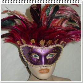 Masque vénitien violet à plumes