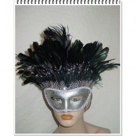 Masque vénitien argenté à plumes