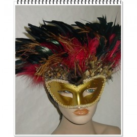 Masque vénitien doré à plumes