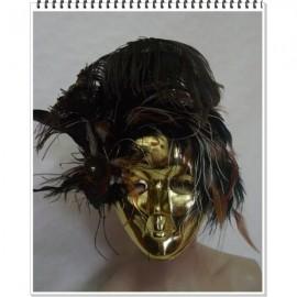 Masque vénitien visage doré à plumes