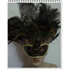 Masque vénitien visage argenté à plumes