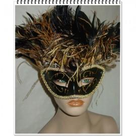 Masque vénitien noir à plumes