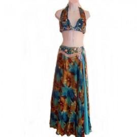 Costume danse orientale -Imprimé turquoise et marron