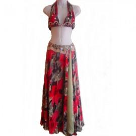 Costume danse orientale -Imprimé rouge et gris