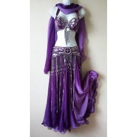 Ensemble danse orientale violet 4 pièces
