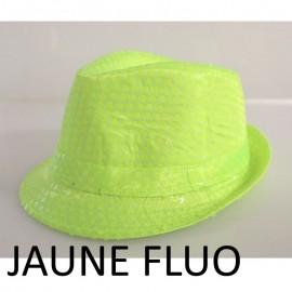 Chapeaux paillette jaune fluo