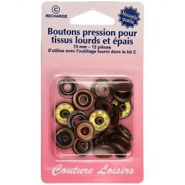 Boutons pressions tissus épais 15 mm - Bronze