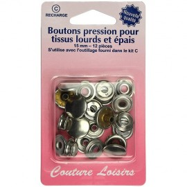 Boutons pressions tissus épais 15 mm - Nickel