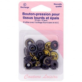 Boutons pressions tissus épais 15 mm - Noir