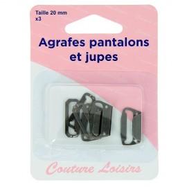 Agrafes noires pantalons et jupes - 20 mm