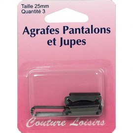 Agrafes noires pantalons et jupes - 25 mm
