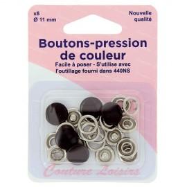 Boutons pression de couleur noir - 11 mm