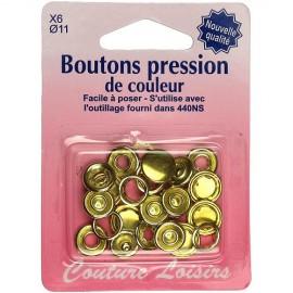 Boutons pression de couleur or - 11 mm