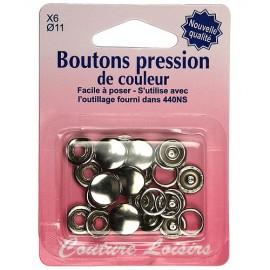 Boutons pression de couleur argent - 11 mm