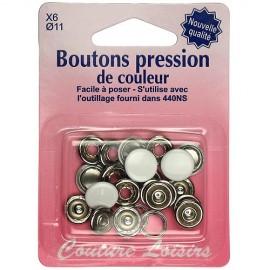 Boutons pression de couleur blanc - 11 mm