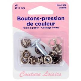 Boutons pression de couleur noir avec outillage de pose - 11 mm