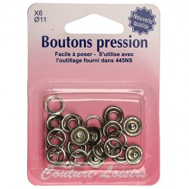 Boutons pression argent - 11 mm
