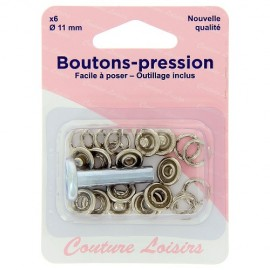 Boutons pression argent avec outillage de pose - 11 mm