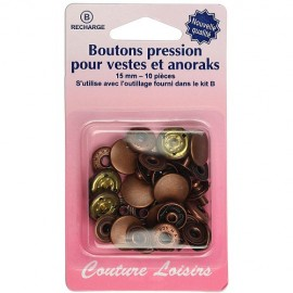 Boutons pressions bronze - 15 mm