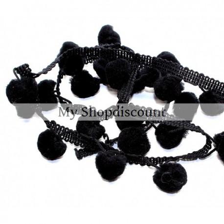 Galon gros pompoms noir