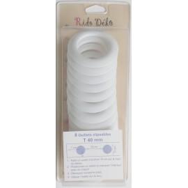 Lot 8 oeillets clipsables rideaux - Blanc