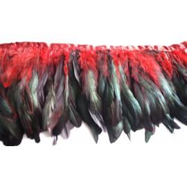 Galon plumes rouge et reflets
