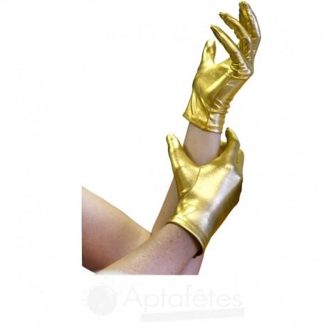 Paire de gants satins 20 cm or