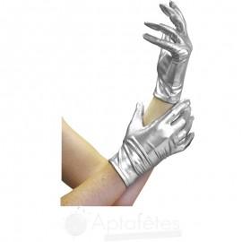 Paire de gants satins 20 cm argent