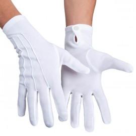 Gants blanc adulte avec bouton pression L/XL