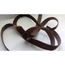 Ruban velours 16 mm marron chocolat