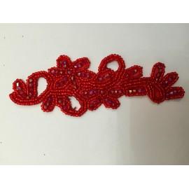 Motif fleur paillettes rouge