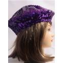 Beret paillette violet
